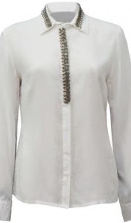 1-0852 Balta blūze ar pērlīšu dekoru