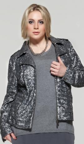 2-0345 Pelēks džemperis ar šifonu