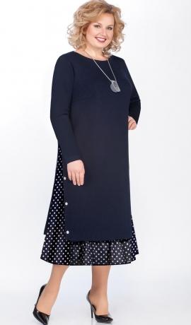LIA4961 Tumši zila trikotāžas kleita
