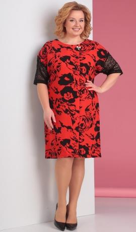 LIA2395 Sarkana ar melnu kleita