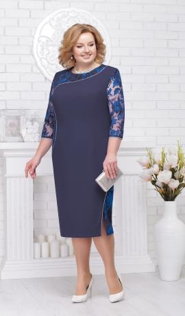 LIA2357 Zila kleita ar mežģīni