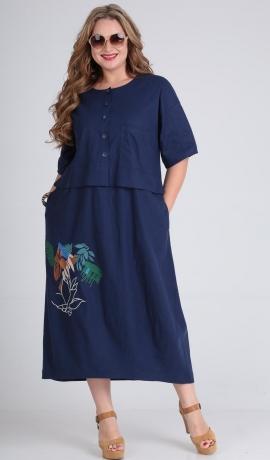 LIA5531 Zila kleita ar kabatām