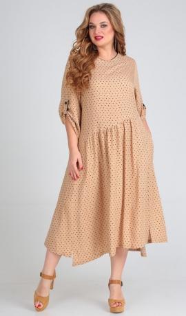 LIA5511 Bēšas krāsas asimetriska kleita