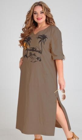 LIA5526 Mokas krāsas kleita ar kabatām