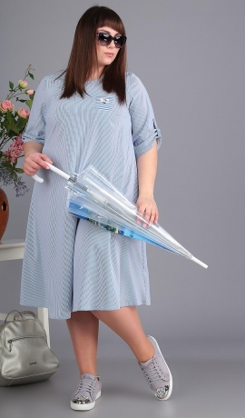 3-1606 Zila/balta svītru raksta kleita