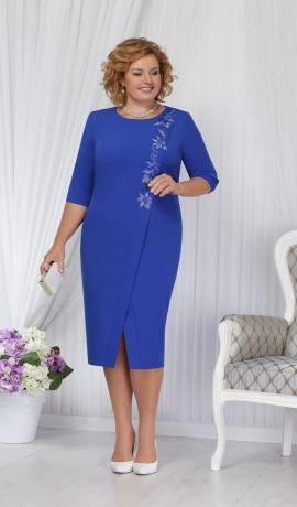 LIA1447 Zila eleganta kleita