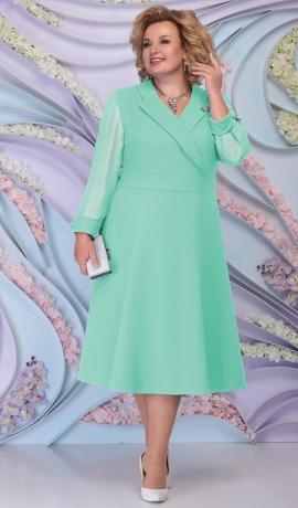 LIA6198 Gaiši zaļa kleita ar V veida izgriezumu
