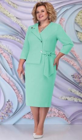 LIA6208 Gaiši zaļa lietišķa stila kleita