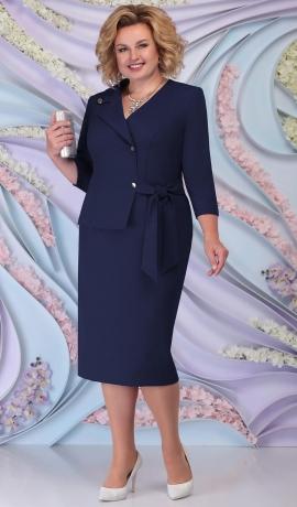 LIA6206 Tumši zila lietišķa stila kleita