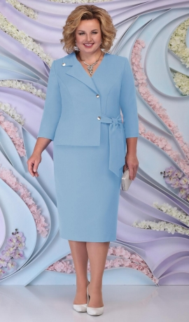 LIA6211 Gaiši zila lietišķa stila kleita