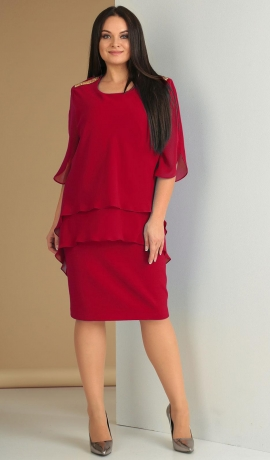 LIA1620 Ķiršu krāsas kleita ar šifonu
