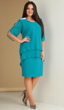 LIA1621 Tirkīzkrāsas kleita ar šifonu