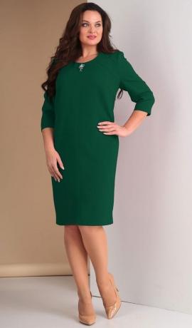 LIA1614 Tumši zaļa eleganta kleita