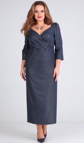 3-1439 Zila ar sudraba krāsu kleita