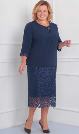 3-1444 Tumši zila kleita ar mežģīni