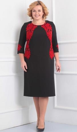 3-1442 Melna kleita ar sarkanām uzšuvēm