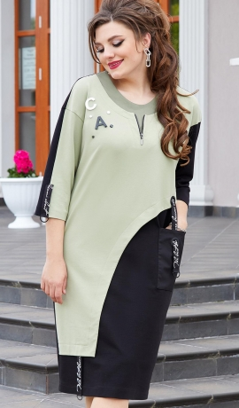 LIA7999 Melna/pistāciju krāsas kleita