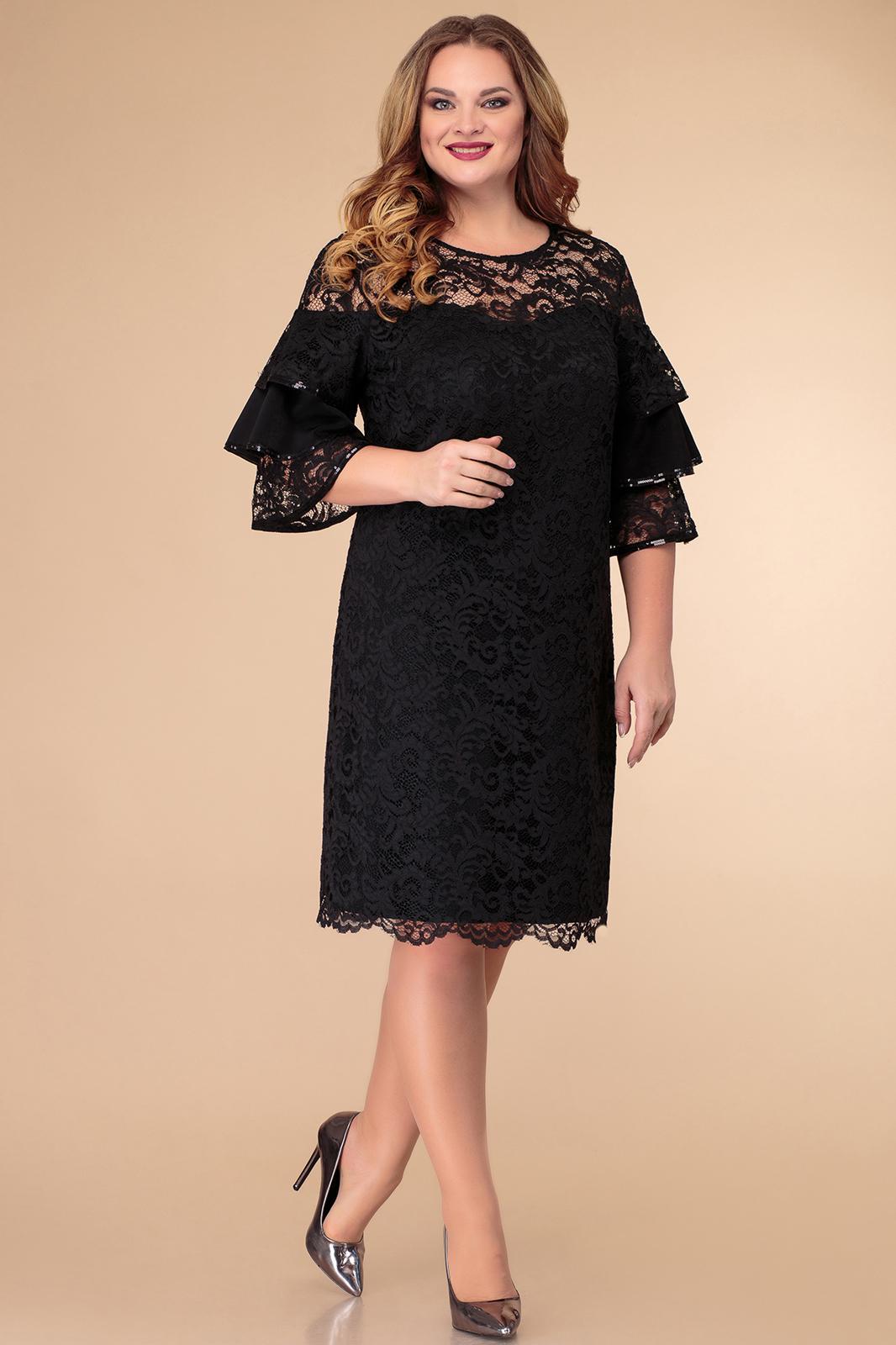 LIA6925 Melna mežģīņu kleita