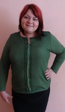 1-0917 Zaļš tops ar dekoratīvu vidusdaļu