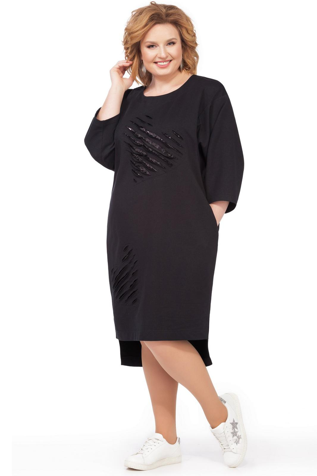 LIA2430 Melna kleita ar sirds formas dekoriem