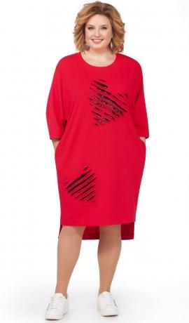 LIA2429 Sarkana kleita ar sirds formas dekoriem