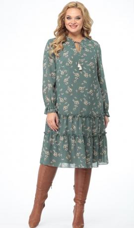 LIA7250 Zaļganpelēka šifona kleita