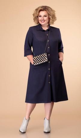 LIA6215 Tumši zila trikotāžas kleita