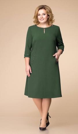 LIA6363 Zaļa kleita ar kabatām