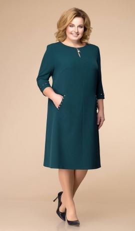 LIA6361 Smaragdzaļa kleita ar kabatām