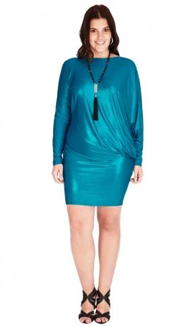 3-0547 Gaiši Zila Metāliska Mini kleita