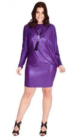 3-0544 Violeta Metāliska Mini kleita