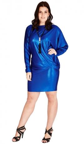 3-0546 Spilgi zila Metāliska Mini kleita