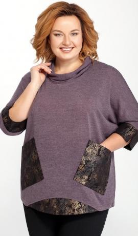 LIA6932 Violets džemperis ar kabatām
