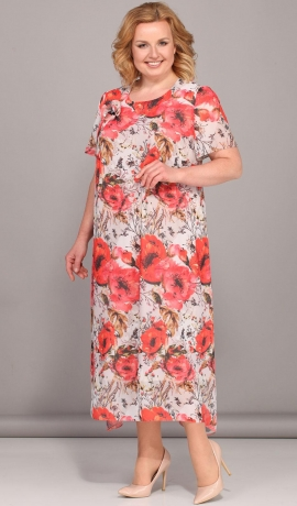 LIA2868 Magoņu raksta kleita