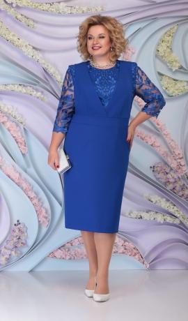 LIA6087 Zila kleita ar mežģīņu augšdaļu