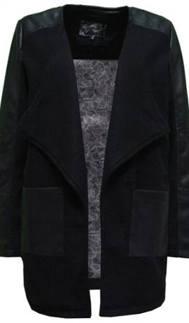 6-0298 Tumša āra jaka ar mākslīgās ādas ielaidumiem