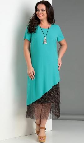 LIA3364 Tirkīzkrāsas divu kārtu kleita