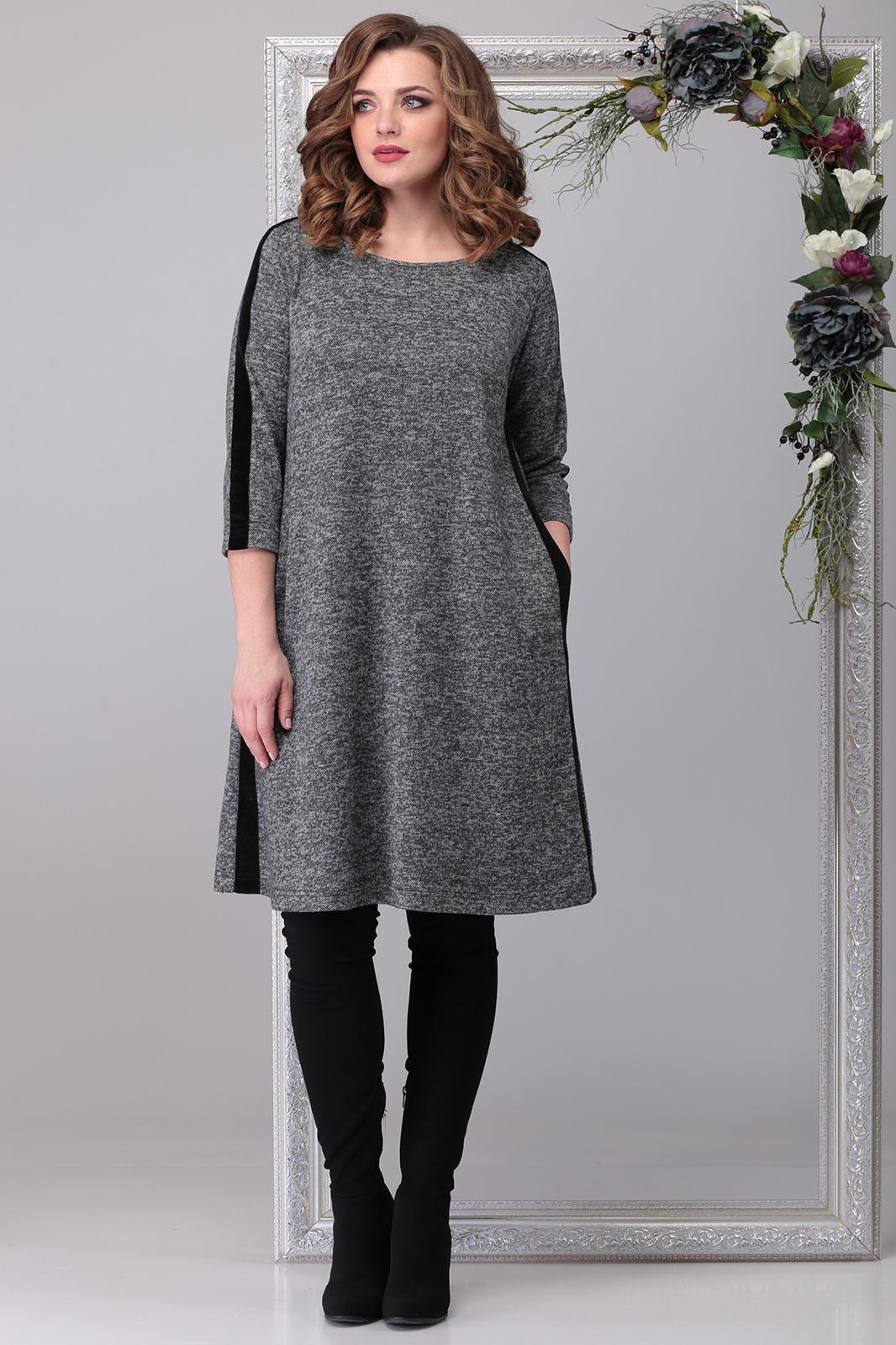 LIA6400 Pelēka trikotāžas kleita