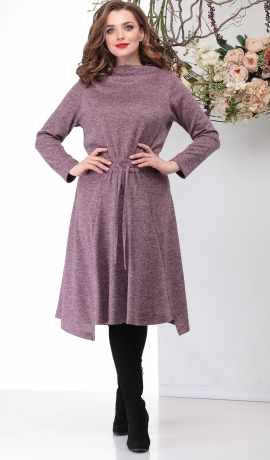 LIA6399 Rozā trikotāžas kleita