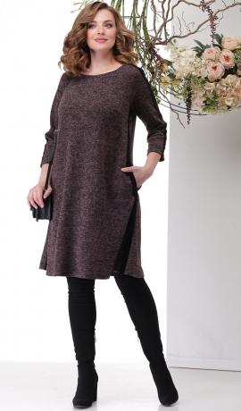 LIA6401 Bordo trikotāžas kleita