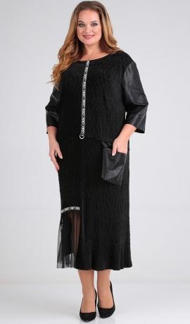 LIA6381 Melna vairāku audumu kleita