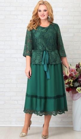 LIA7683 Smaragdzaļa kleita ar mežģīni