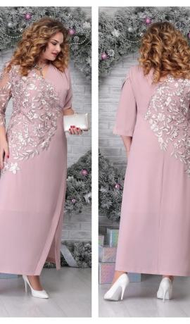 LIA6681 Gaiši rozā maxi kleita