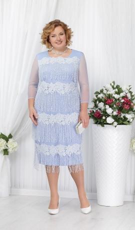 3-1363 Gaiši zila kleita ar gaišiem akcentiem