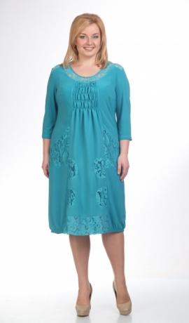 LIA0615 Tirkīza krāsas kleita ar izšuvumiem