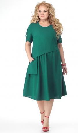LIA7334 Zaļa kleita ar kabatu