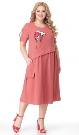 LIA7338 Rozā kleita ar kabatu