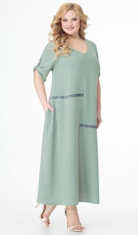 LIA7340 Pistācijas krāsas gara kleita