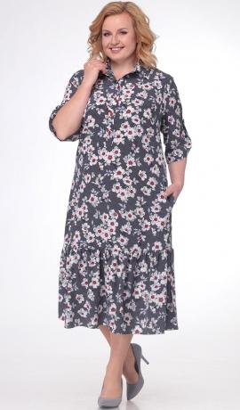 LIA3158 Pelēka - ziediņu kleita ar kabatām