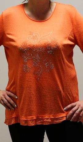 1-1114 Oranžs tops ar spīdumiem